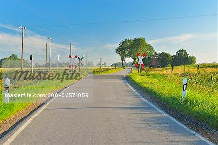 Railroad Crossing in the Summer, Toenning, Schleswig-Holstein, Germany
