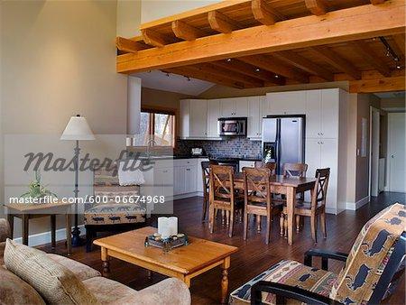 Living room and kitchen, Okanagan Valley, British Columbia, Canada
