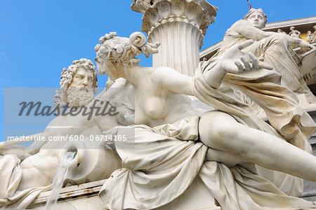 Pallas Athene statue detail in front of Austrian Parliament in Vienna. Vienna, Austria.