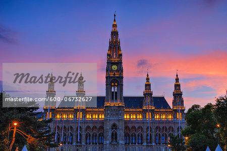 Town Hall (Gothic building) at sunset (dusk). Vienna, Austria.