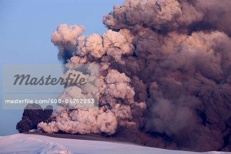 Ash and Smoke from Eyjafjallajokull Volcano Erupting, Iceland
