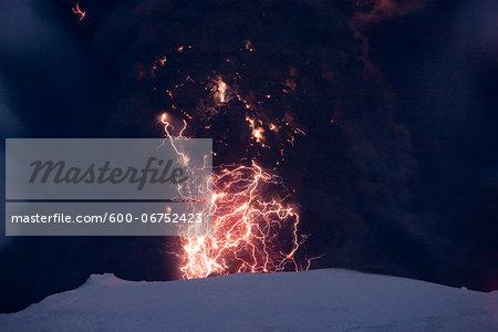 Eyjafjallajokull Volcano at Night, Lightning and Lava inside Ash Cloud, Iceland
