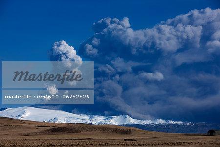 Volcanic Ash Clouds above Eyjafjallajokull Glacier, Iceland