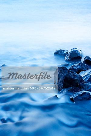 Long Exposure of River Flowing by Rocks, Olafsvik, Snaefellsnes Peninsula, Iceland