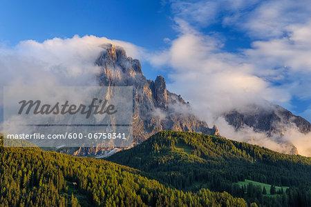 Mount Langkofel with Clouds, Val Gardena, South Tyrol, Trentino-Alto Adige, Dolomites, Italy