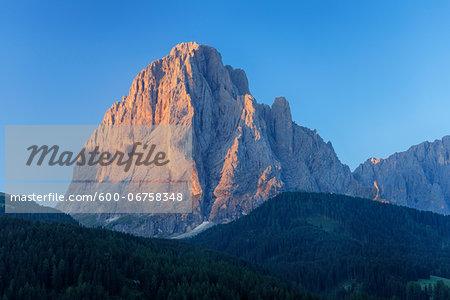 Mount Langkofel at Sunrise, Val Gardena, South Tyrol, Trentino-Alto Adige, Dolomites, Italy