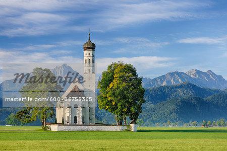 St Coloman Church with Bavarian Alps, Schwangau, Ostallgau, Bavaria, Germany