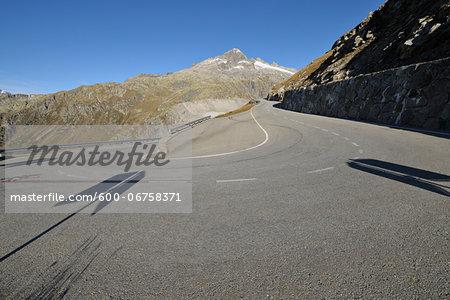 Hairpin Turn in Furka Pass in Autumn, Valais, Switzerland