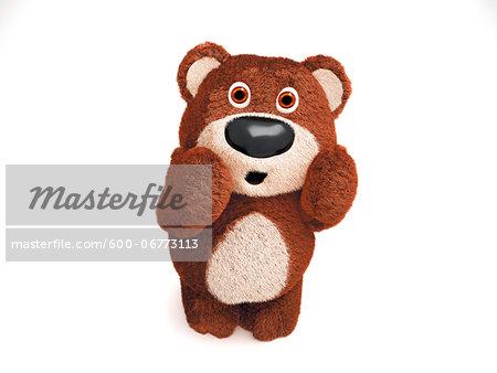 Illustration of Surprised Teddy Bear on White Background
