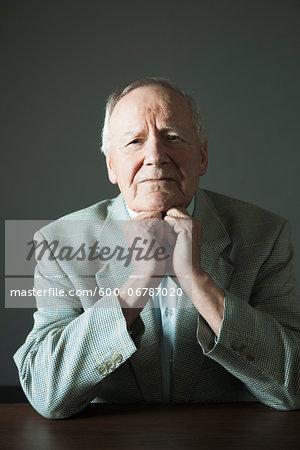 Portrait of Elderly Man in Studio