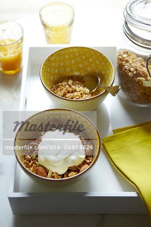 Bowls of Granola with Almonds and Yogurt, Studio Shot