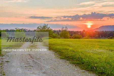 Landscape of a sunset in spring, Bavaria, Germany