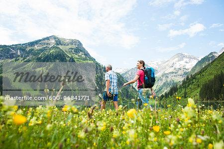 Couple Hiking, Vilsalpsee, Tannheim Valley, Tyrol, Austria