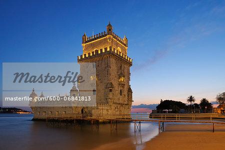 Belem Tower with Tagus River at Dusk, UNESCO World Heritage Site, Belem, Lisbon, Portugal