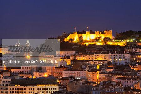 Castelo de Sao Jorge Illuminated at Night, Lisbon, Portugal
