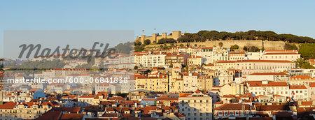 Panoramic View of Castelo de Sao Jorge, Alfama, Baixa, Lisbon, Portugal