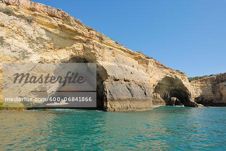 Cliffs with Natural Arches between Armacao de Pera and Portimao, Benagil, Lagoa, Portugal