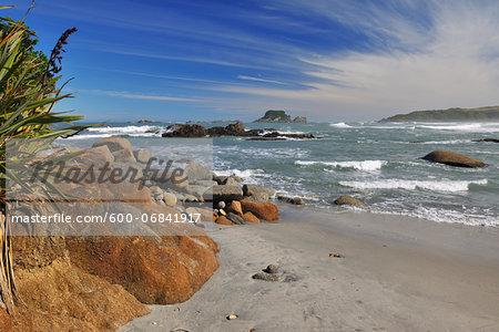 Beach with Stones, Cape Foulwind, Westport, South Island, West Coast-Tasman, New Zealand