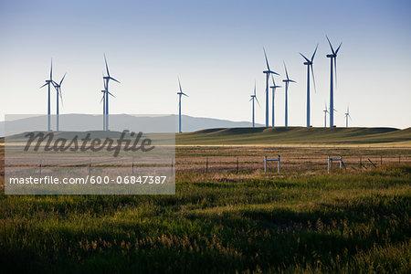 Wind generators, in field, Montana, USA.