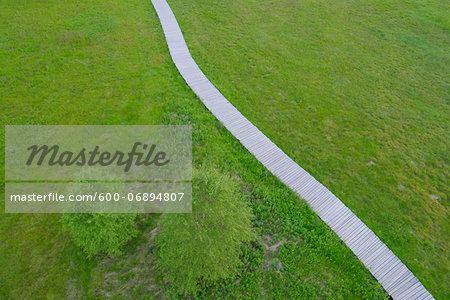 Aerial View of Boardwalk through Black Moor, UNESCO Biosphere Reserve, Rhon Mountains, Bavaria, Germany