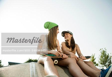 Girls Hanging out in Skatepark, Feudenheim, Mannheim, Baden-Wurttemberg, Germany