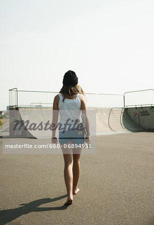 Girl Hanging out in Skatepark, Feudenheim, Mannheim, Baden-Wurttemberg, Germany