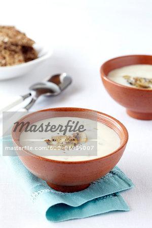 Bowls of Creamy Mushroom Soup, Studio Shot