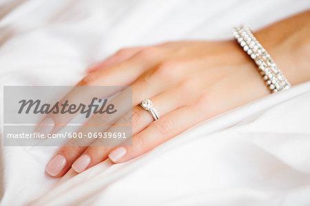 Close-up of Bride's Hand with Wedding Ring, Toronto, Ontario, Canada