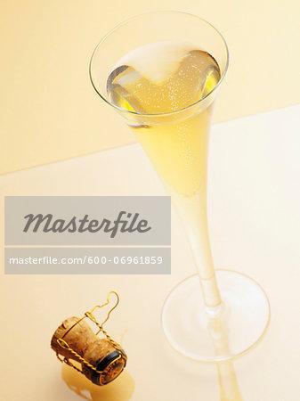 Glass of Champagne with Cork, Studio Shot