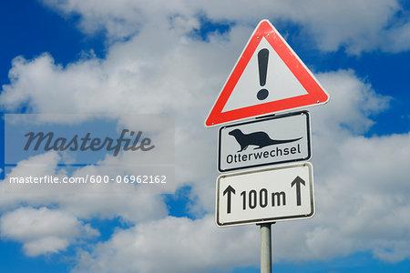 Otter Crossing Sign, Fischland-Darss-Zingst, Mecklenburg-Western Pomerania, Germany