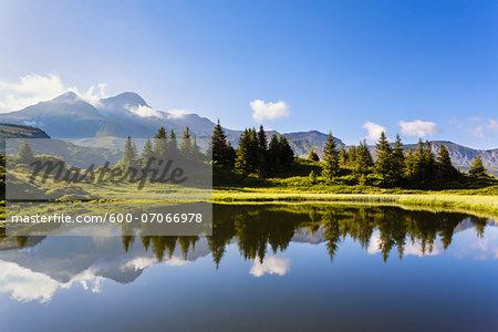 Mountains of Bernese Alps Reflected in Alpine Lake, Grosse Scheidegg, Switzerland