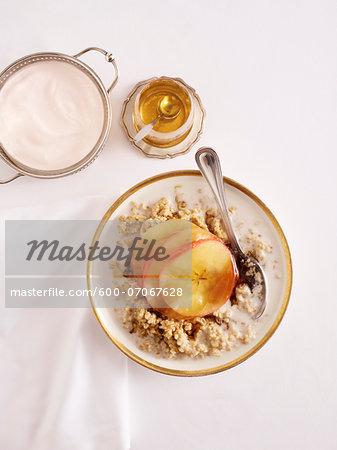 Overhead View of Apple Porridge, Studio Shot