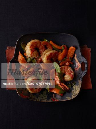 Overhead View of Grilled Shrimp, Studio Shot