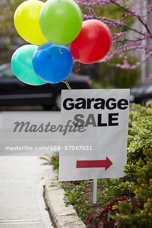Garage Sale Sign with Balloons, Toronto, Ontario, Canada