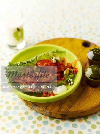 Buffalo Chicken Salad on Cutting Board, Studio Shot