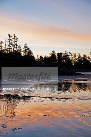 Tofino area of Long Beach at sunrise, West Coast, British Columbia, Canada