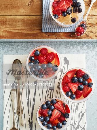 Overhead View of Glasses of Berry Jellies, Studio Shot