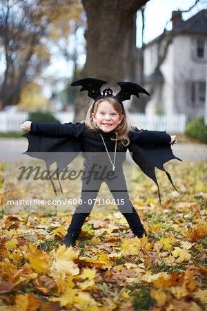 Girl in Bat Halloween Costume, Toronto, Ontario, Canada