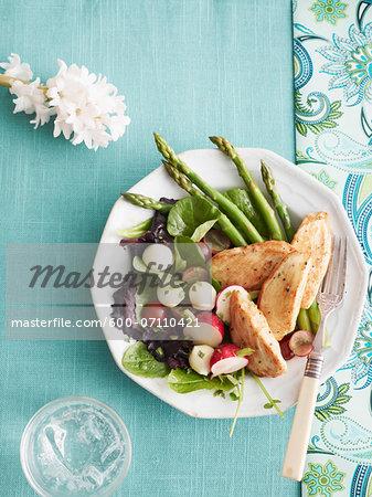 Overhead View of Honey Dijon Chicken Salad, Studio Shot