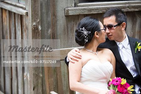 Portrait of Bride and Groom Outdoors, Toronto, Ontario, Canada