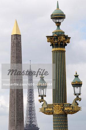 Street Lamp with Obelisque de Luxor and Eiffel Tower in background, Place de la Concorde, Paris, France