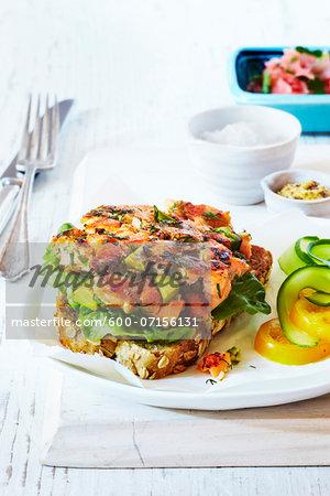 Salmon and avocado burger on whole grain bread on plate, studio shot