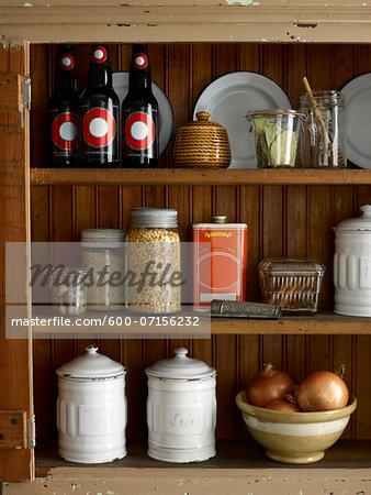 Kitchen Pantry with food supplies, studio shot
