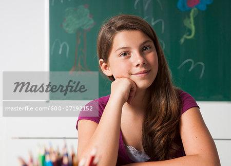 Portrait of Girl in Classroom, Mannheim, Baden-Wurttemberg, Germany