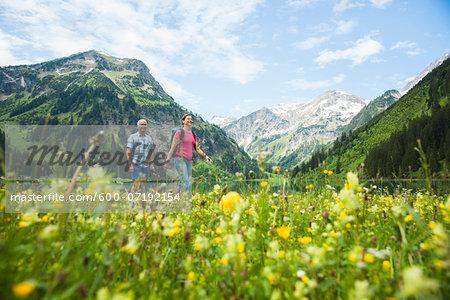 Mature Couple Hiking, Vilsalpsee, Tannheim Valley, Tyrol, Austria