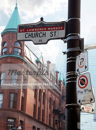 Flatiron Building and Church Steet Sign, Toronto, Ontario, Canada