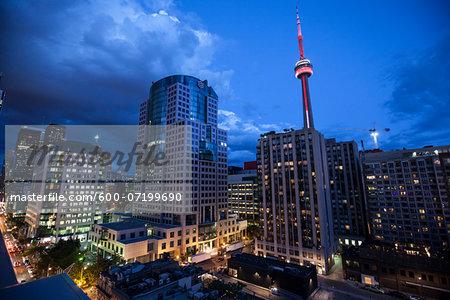 CN Tower and Skyline at Night, Toronto, Ontario, Canada