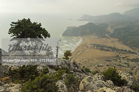 View of Tsampika Beach and Arhangelos Bay, Rhodes, Dodecanese, Aegean Sea, Greece, Europe