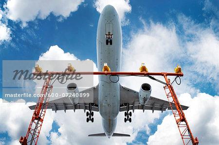 Low angle view of jumbo jet landing at Pearson International Airport, Toronto, Ontario, Canada12