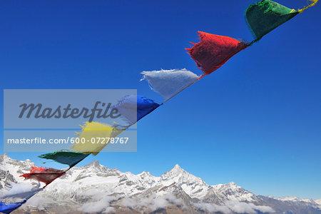 Tibetan Prayer Flag, Gornergrat, Zermatt, Alps, Valais, Switzerland